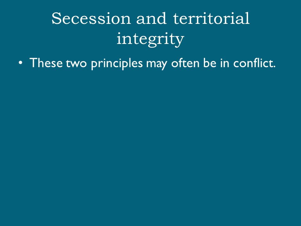 Secession and territorial integrity