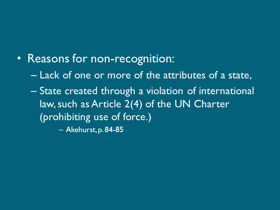 Reasons for non-recognition: