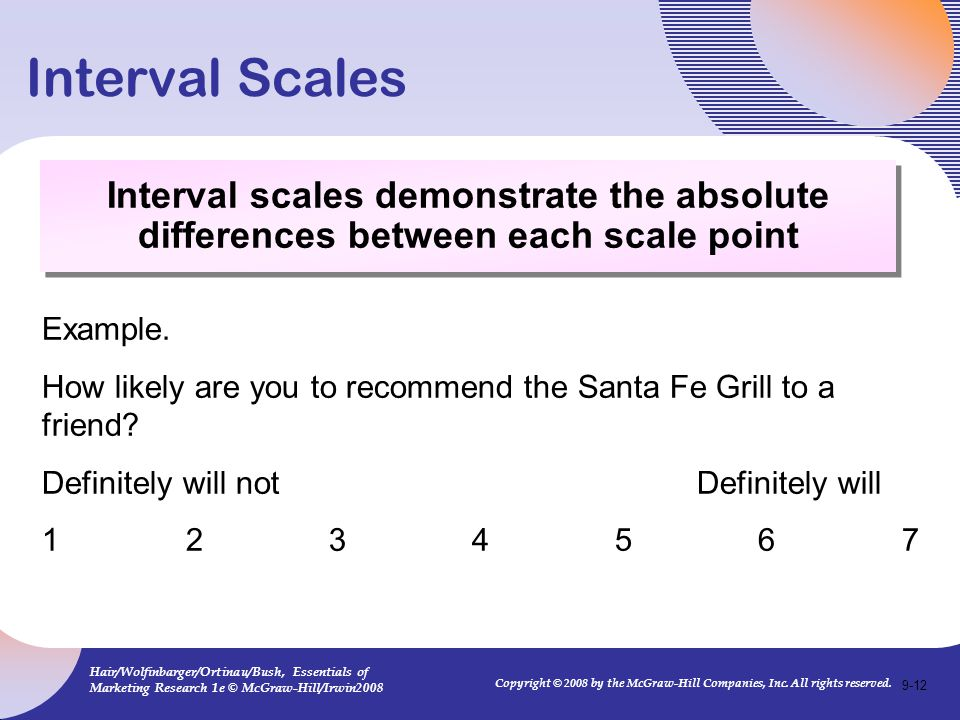 Interval Scales Interval scales demonstrate the absolute differences between each scale point. Example.