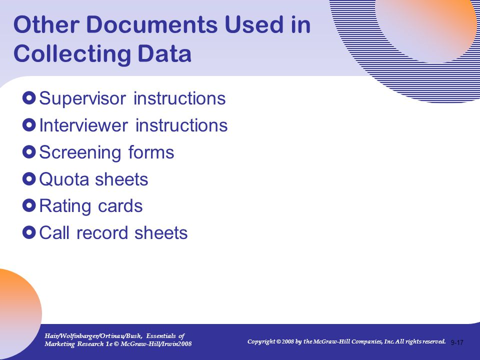 Other Documents Used in Collecting Data