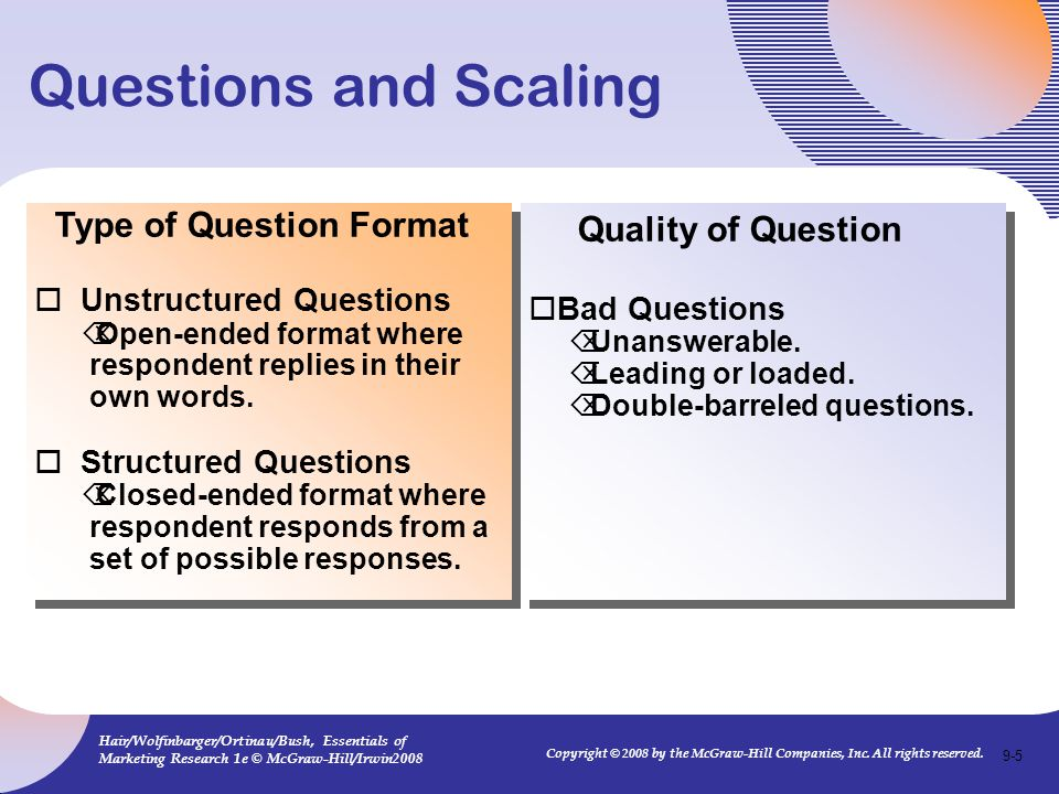 Questions and Scaling Type of Question Format Quality of Question
