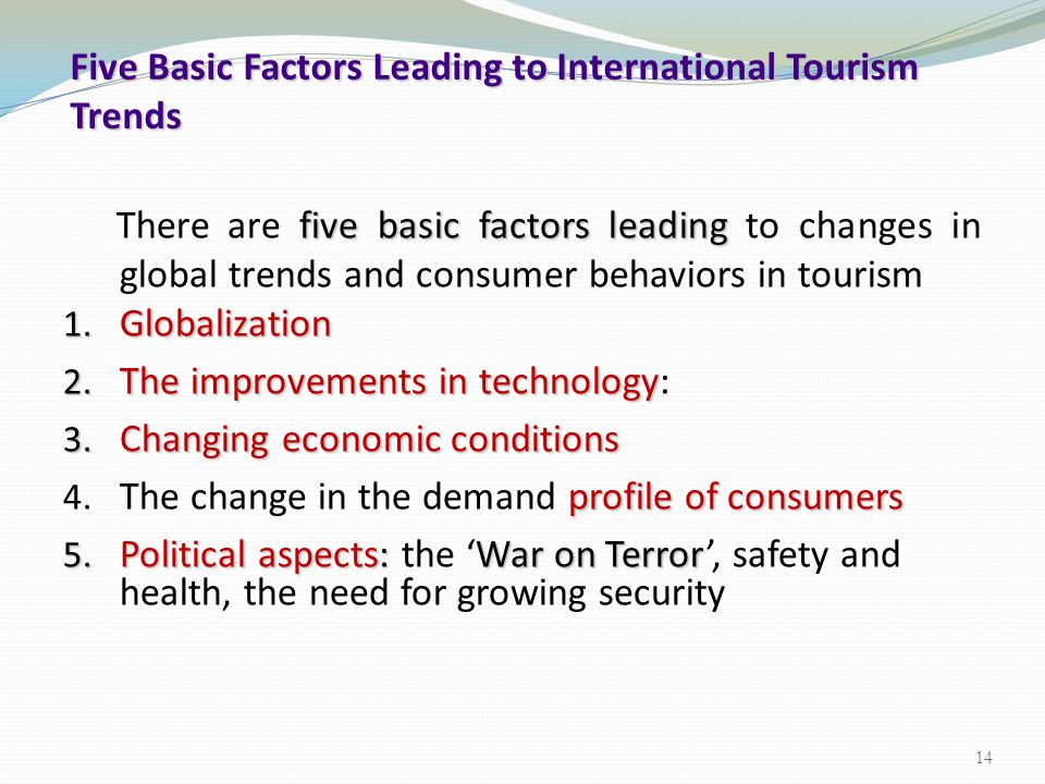 Five Basic Factors Leading to International Tourism Trends