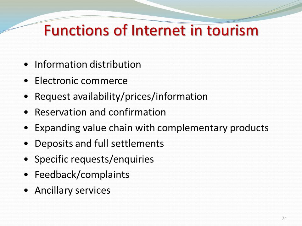 Functions of Internet in tourism