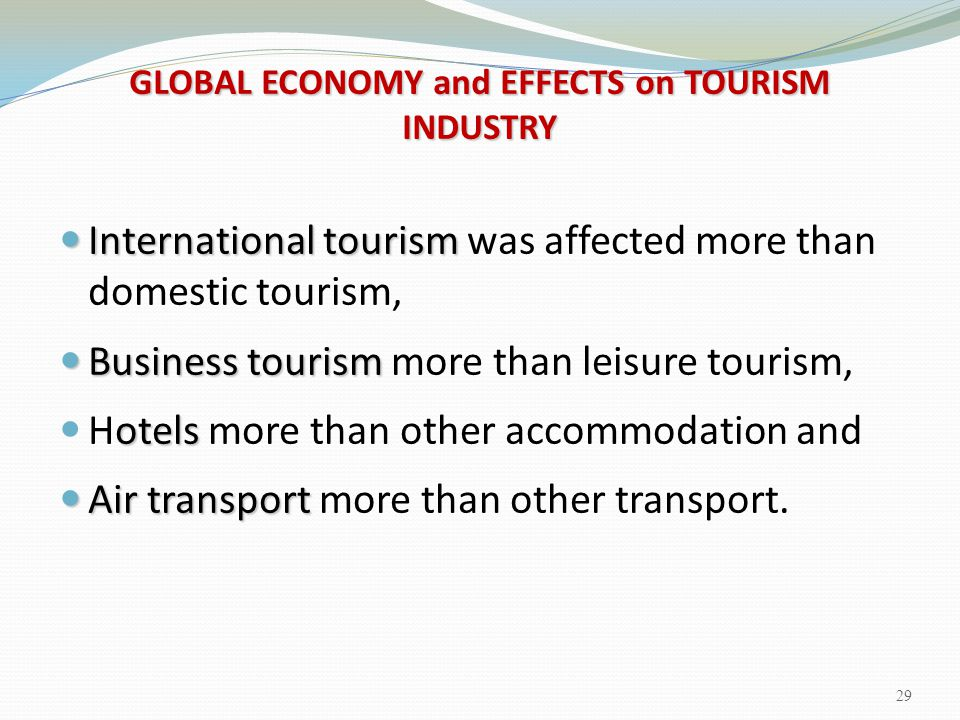 GLOBAL ECONOMY and EFFECTS on TOURISM INDUSTRY