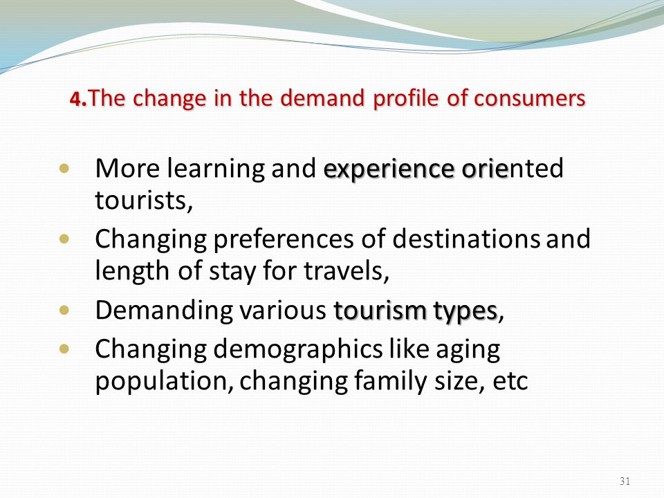 4.The change in the demand profile of consumers