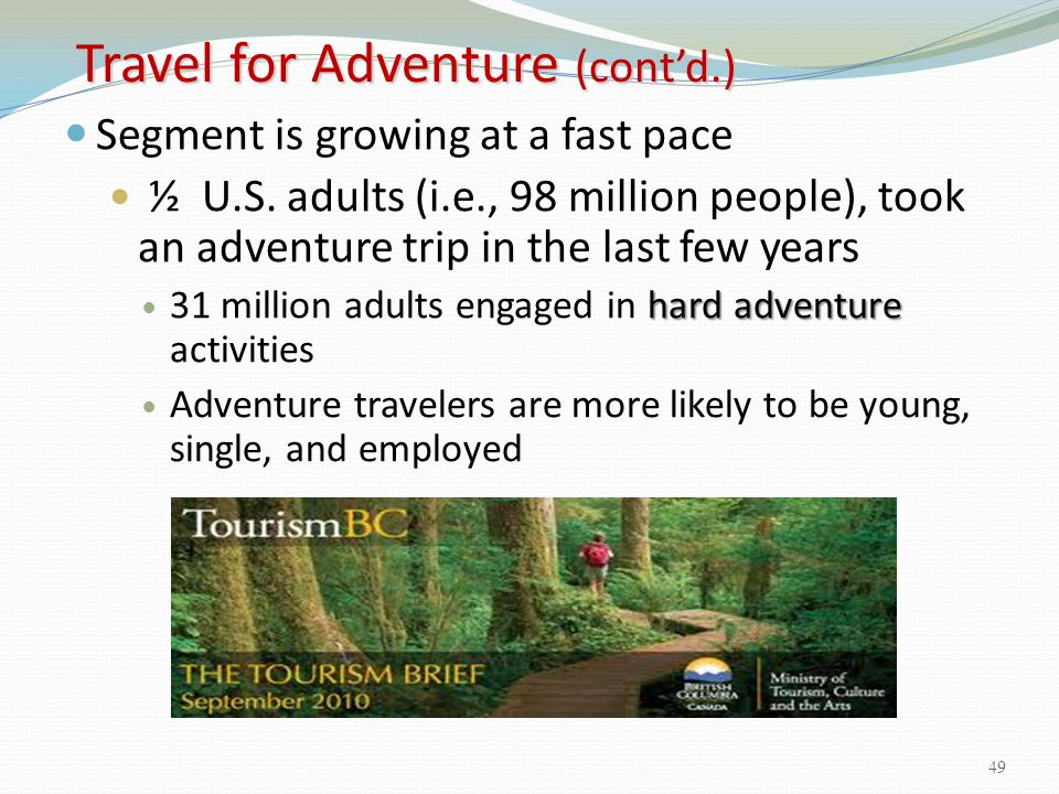 Travel for Adventure (cont'd.)