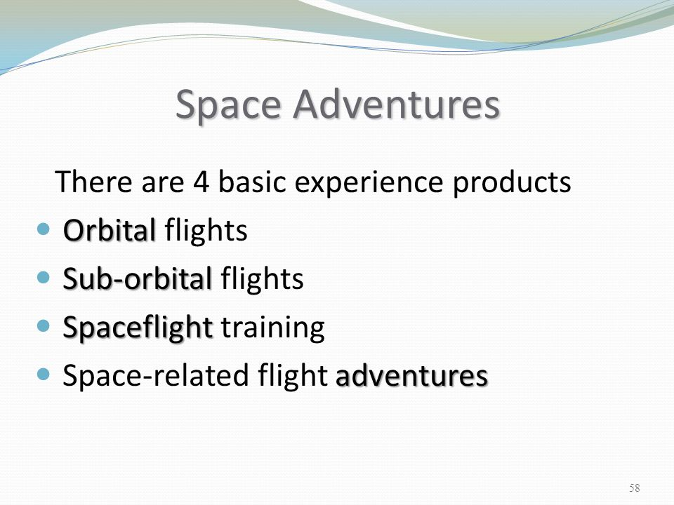 Space Adventures Orbital flights Sub-orbital flights