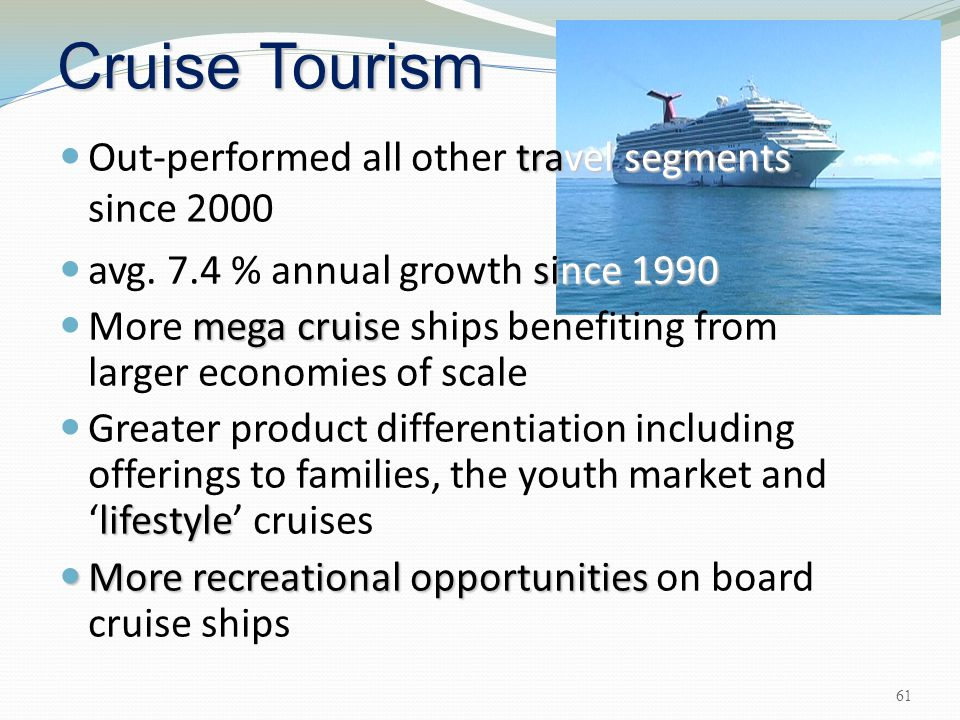 Cruise Tourism Out-performed all other travel segments since 2000