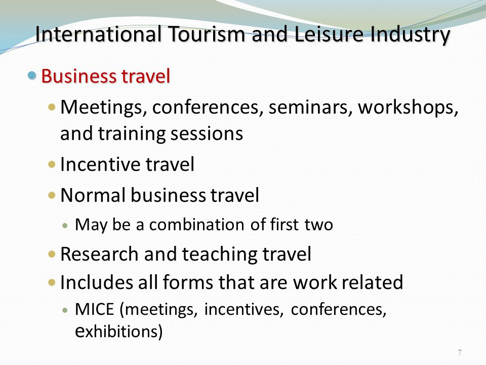 International Tourism and Leisure Industry