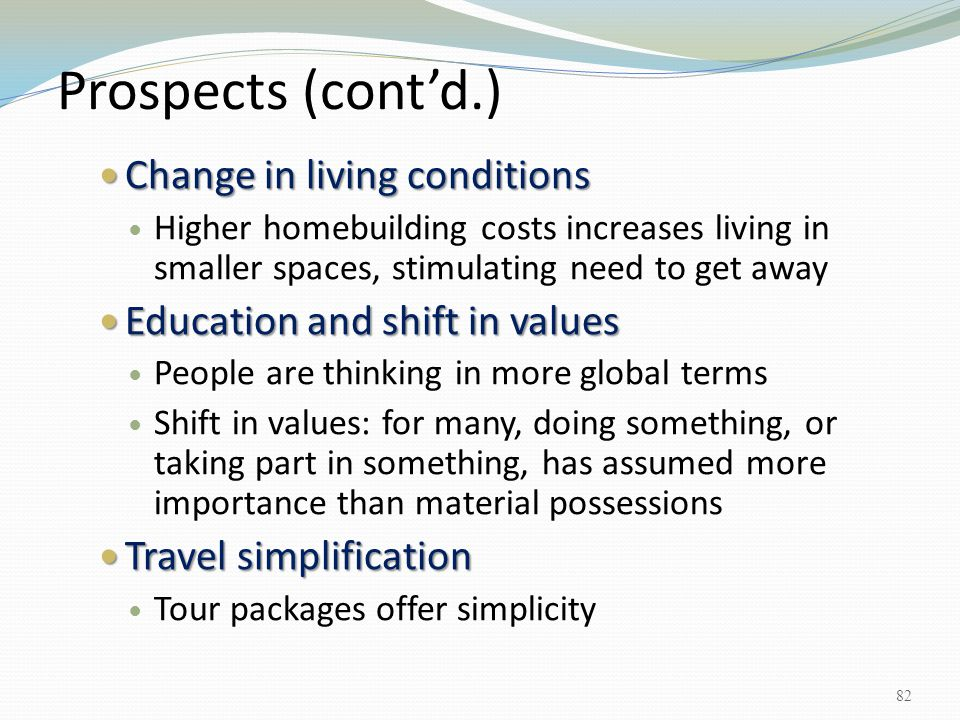 Prospects (cont'd.) Change in living conditions