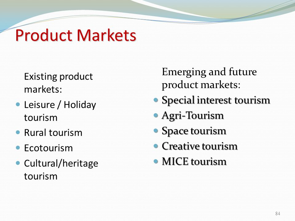 Product Markets Emerging and future product markets: