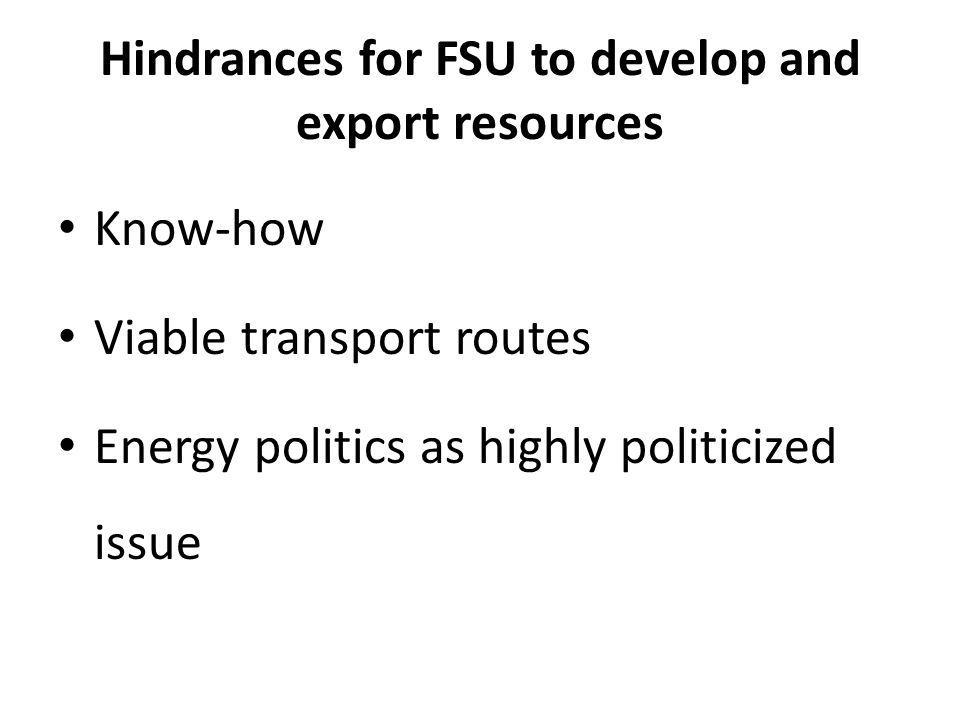 Hindrances for FSU to develop and export resources