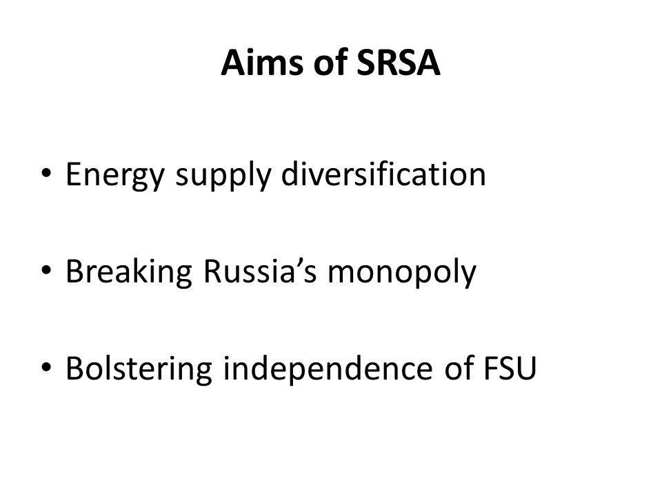 Aims of SRSA Energy supply diversification Breaking Russia's monopoly