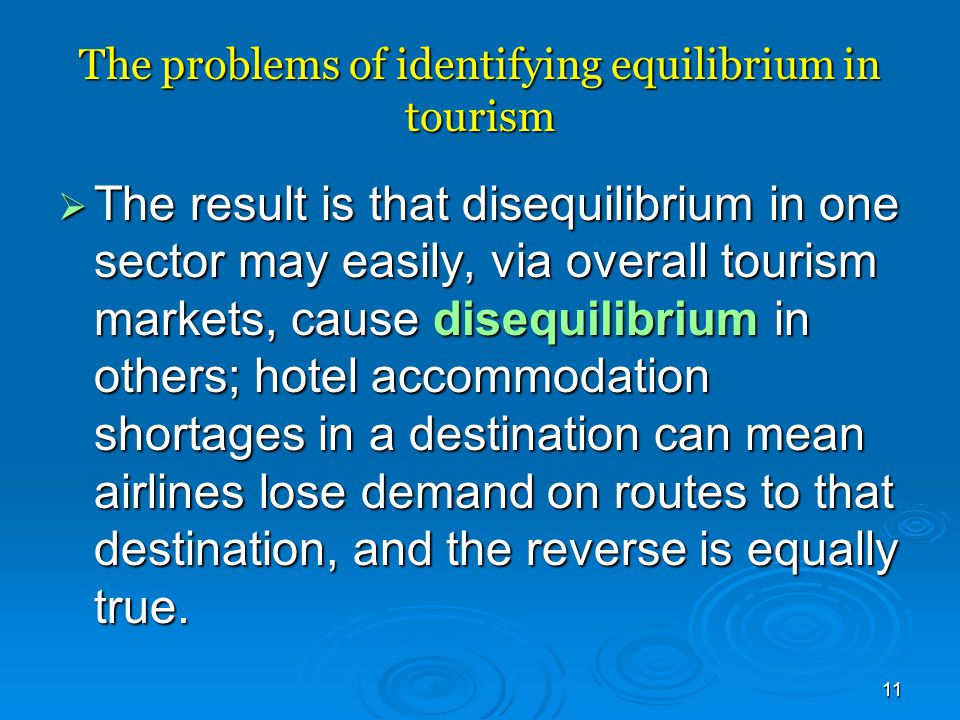 The problems of identifying equilibrium in tourism