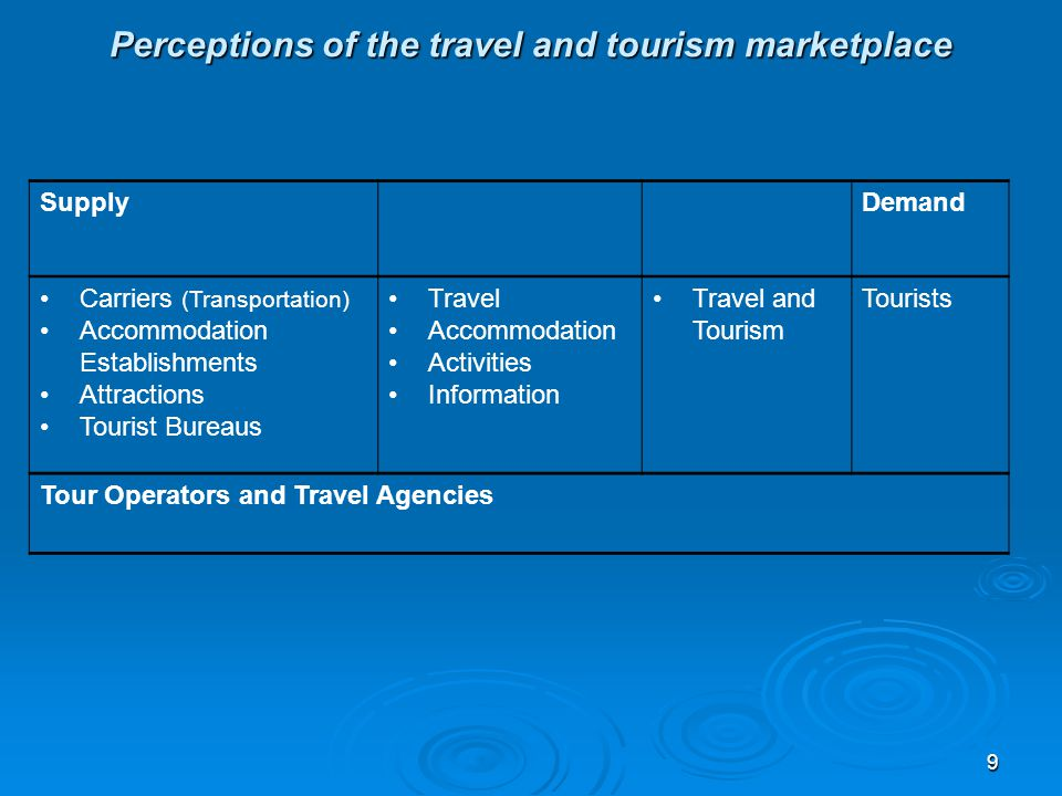 Perceptions of the travel and tourism marketplace