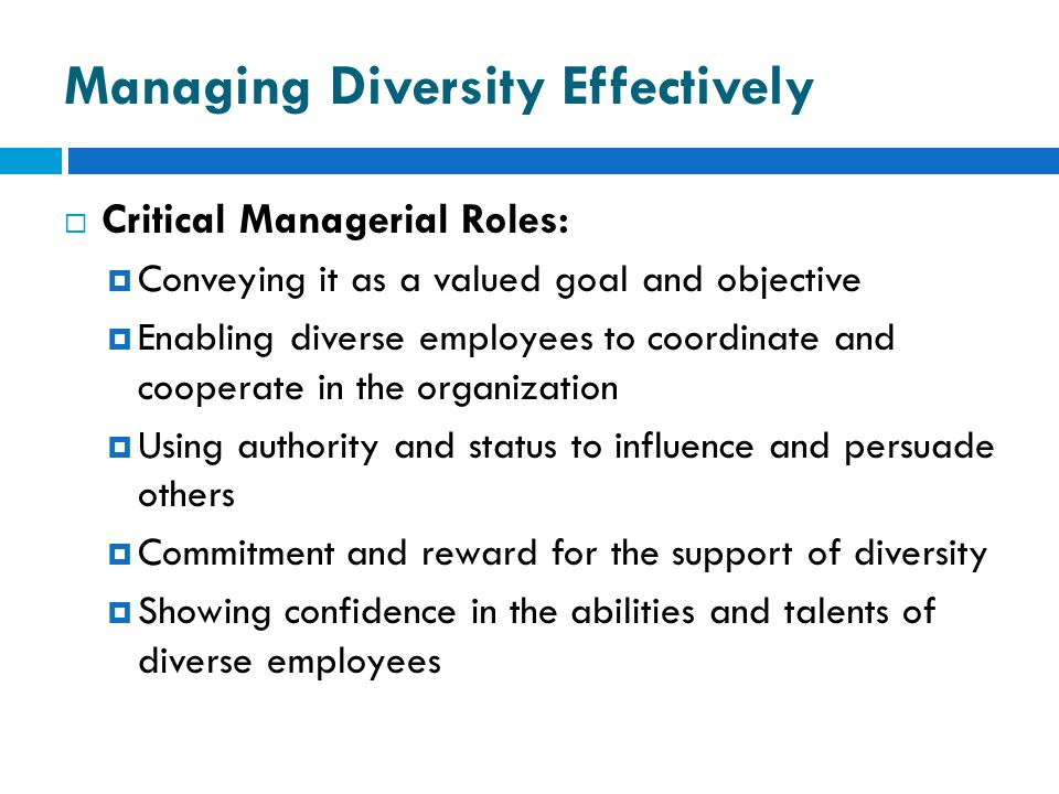 Managing Diversity Effectively