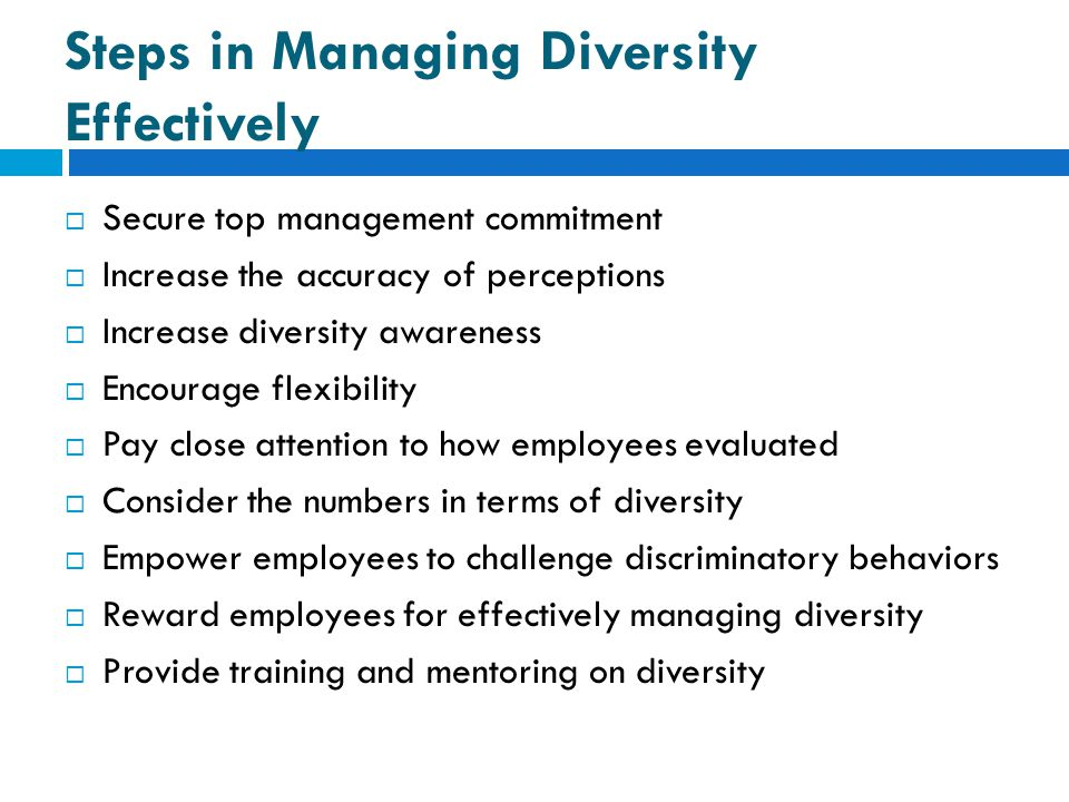 Steps in Managing Diversity Effectively