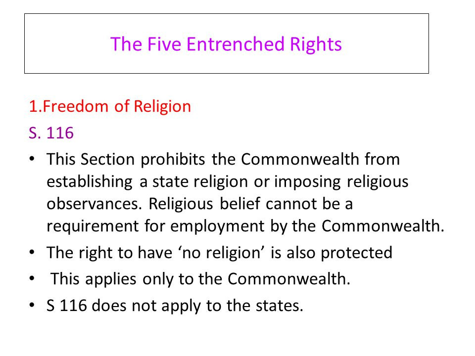 The Five Entrenched Rights