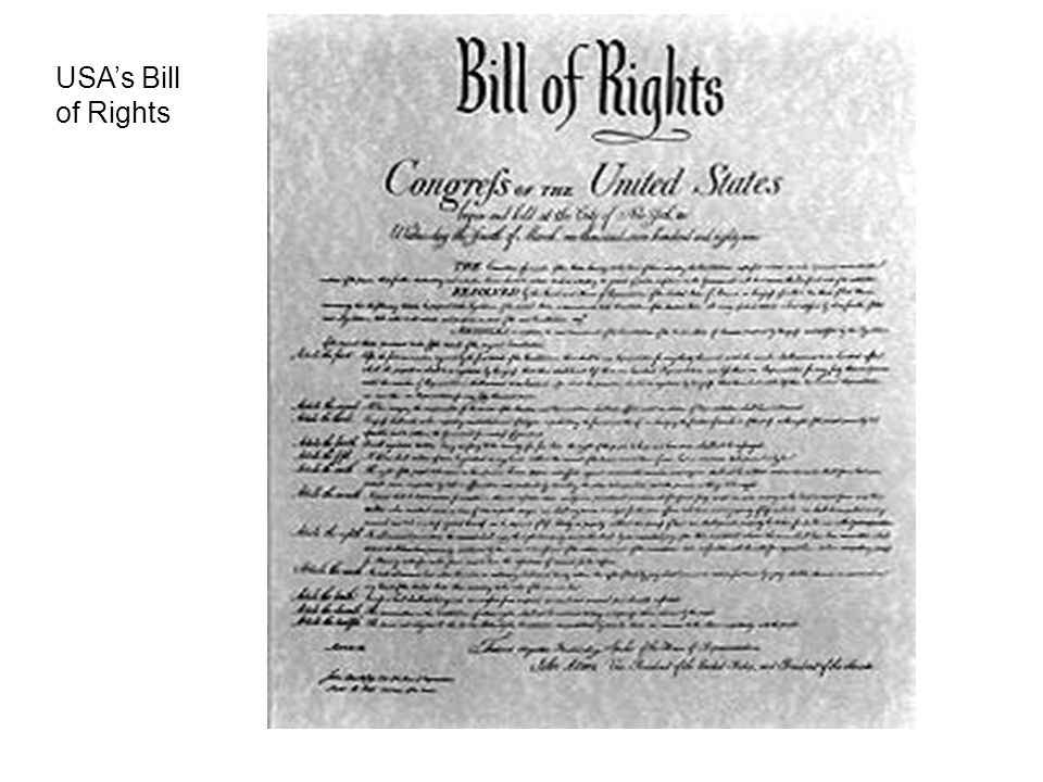 USA's Bill of Rights