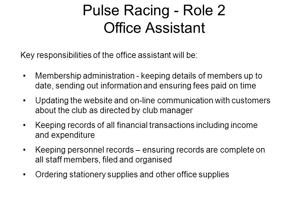 Pulse Racing - Role 2 Office Assistant