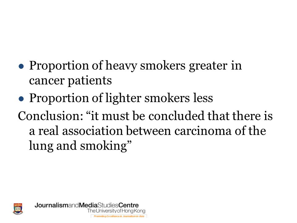 Proportion of heavy smokers greater in cancer patients