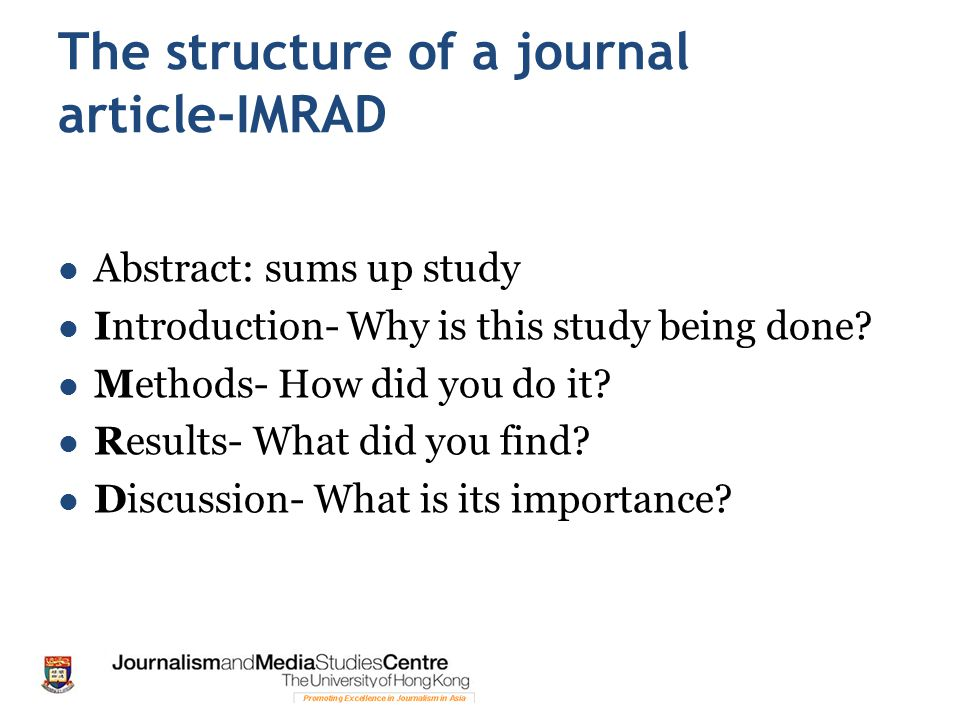 The structure of a journal article-IMRAD