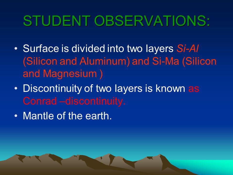 STUDENT OBSERVATIONS: