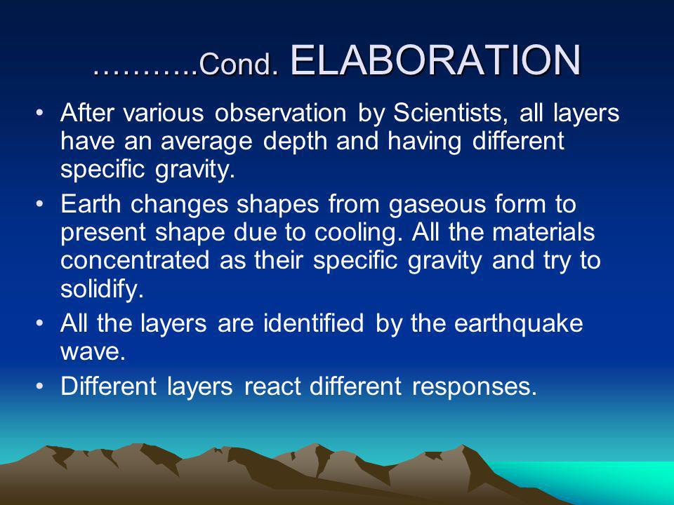 ………..Cond. ELABORATION After various observation by Scientists, all layers have an average depth and having different specific gravity.