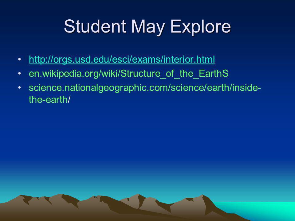 Student May Explore http://orgs.usd.edu/esci/exams/interior.html