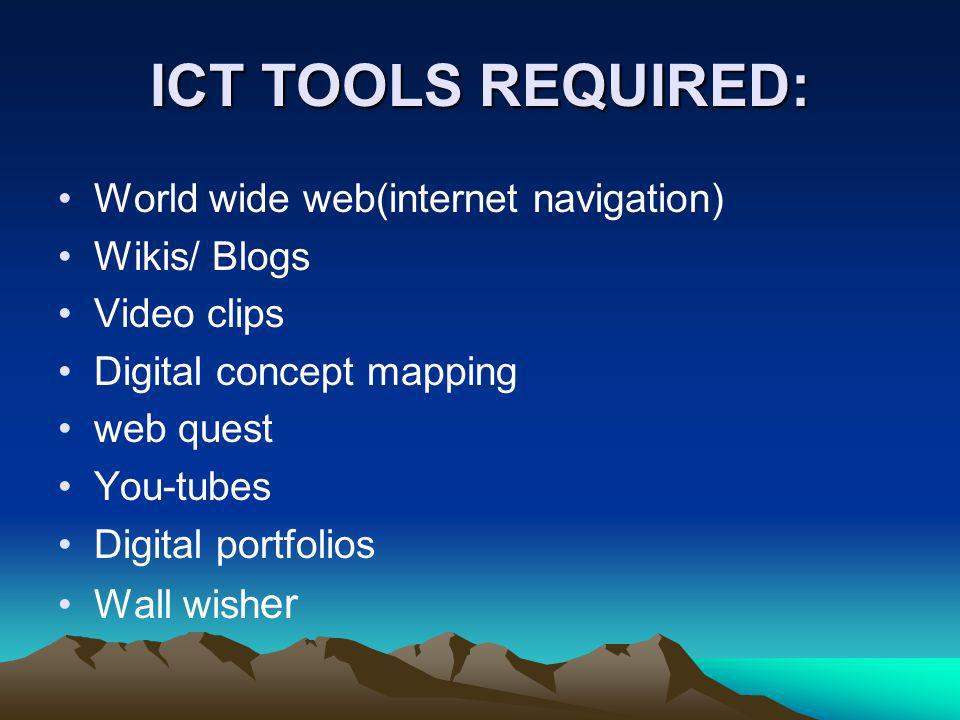 ICT TOOLS REQUIRED: World wide web(internet navigation) Wikis/ Blogs