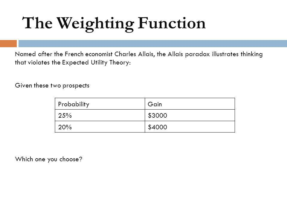 The Weighting Function