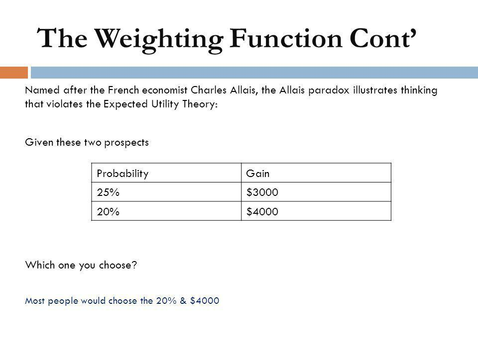 The Weighting Function Cont'