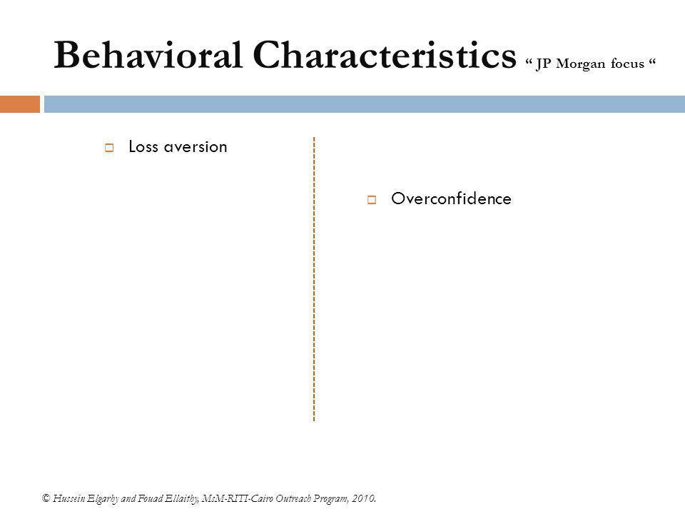 Behavioral Characteristics JP Morgan focus