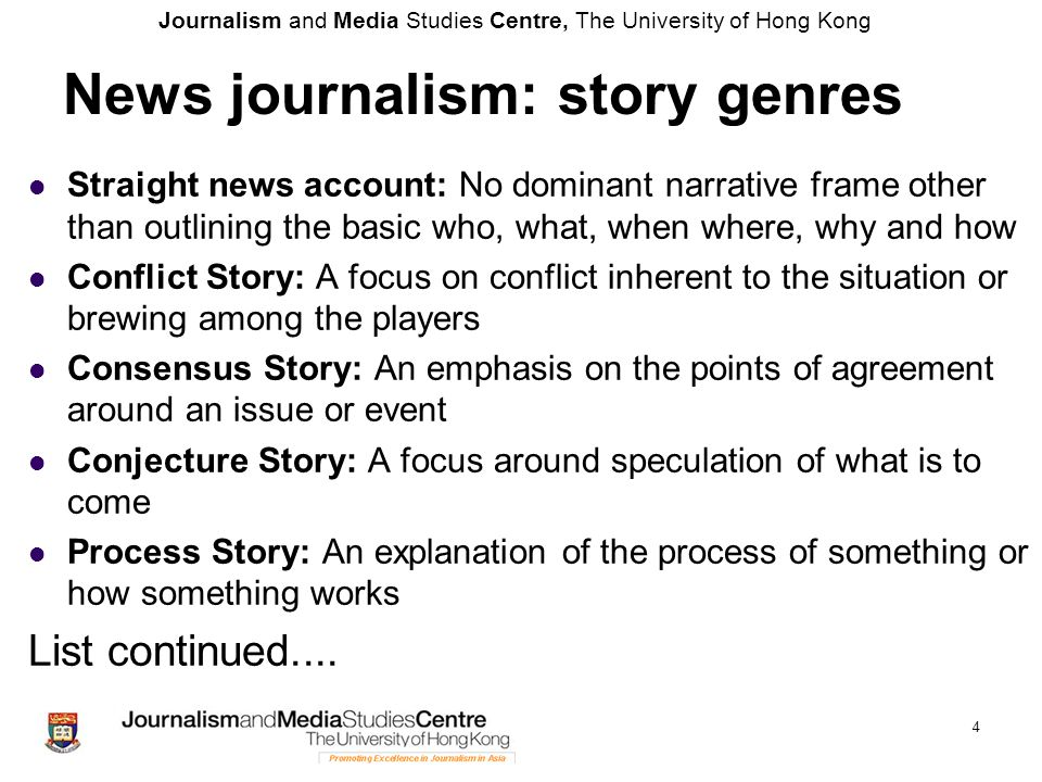 News journalism: story genres
