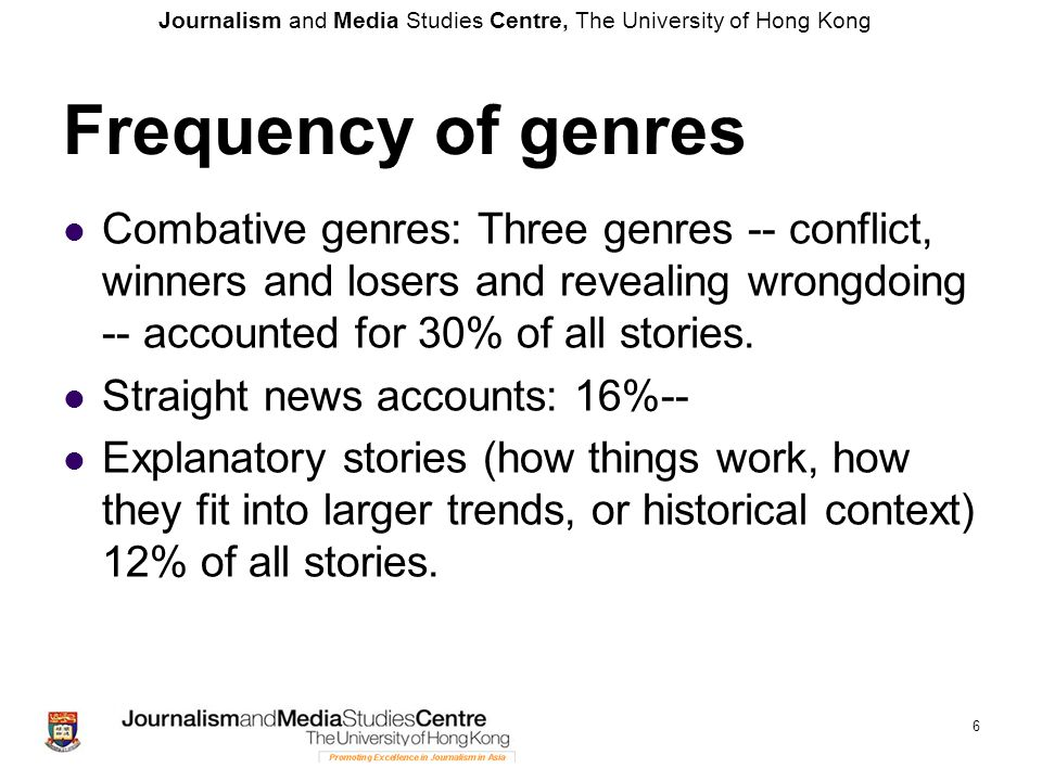 Frequency of genres Combative genres: Three genres -- conflict, winners and losers and revealing wrongdoing -- accounted for 30% of all stories.