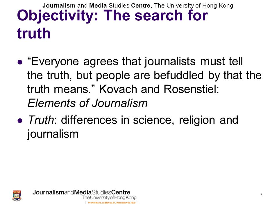 Objectivity: The search for truth