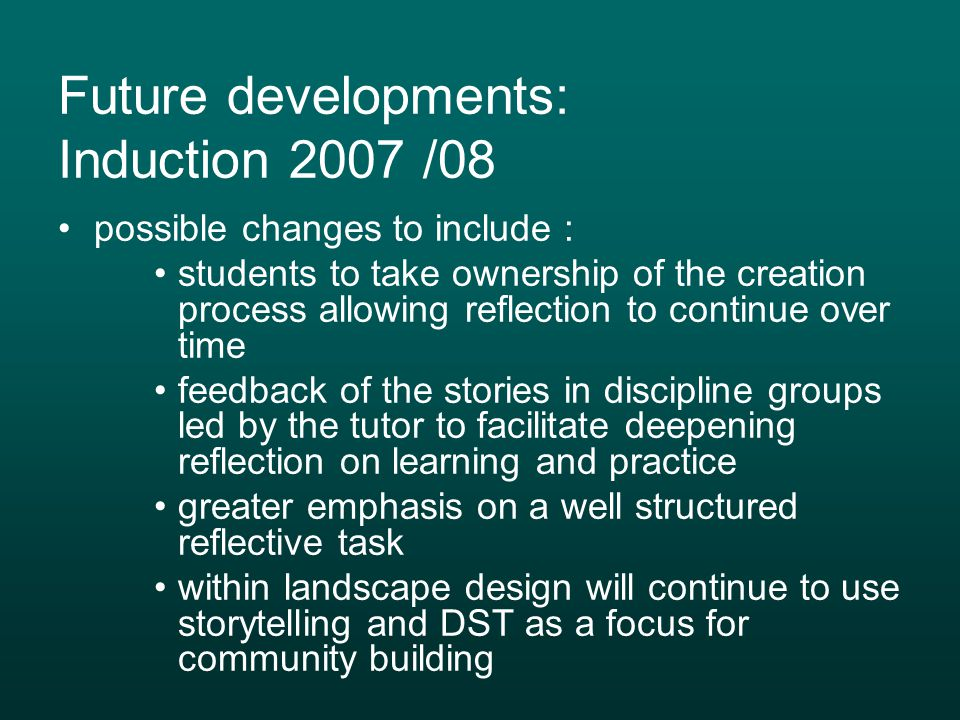Future developments: Induction 2007 /08
