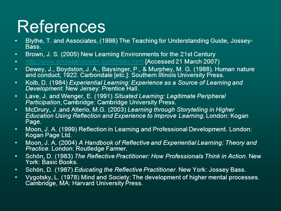 References Blythe, T. and Associates, (1998) The Teaching for Understanding Guide, Jossey-Bass.