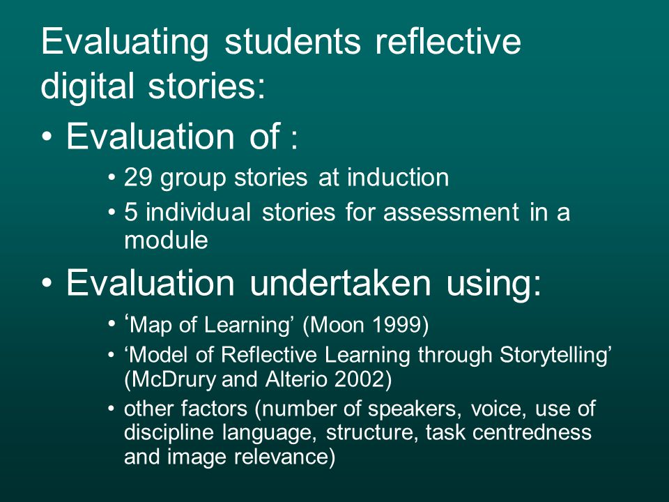 Evaluating students reflective digital stories: