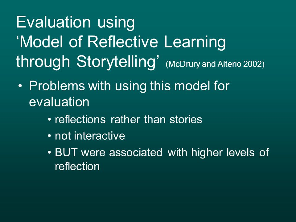 Evaluation using 'Model of Reflective Learning through Storytelling' (McDrury and Alterio 2002)