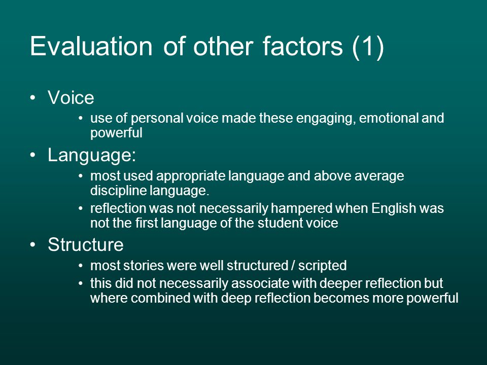 Evaluation of other factors (1)