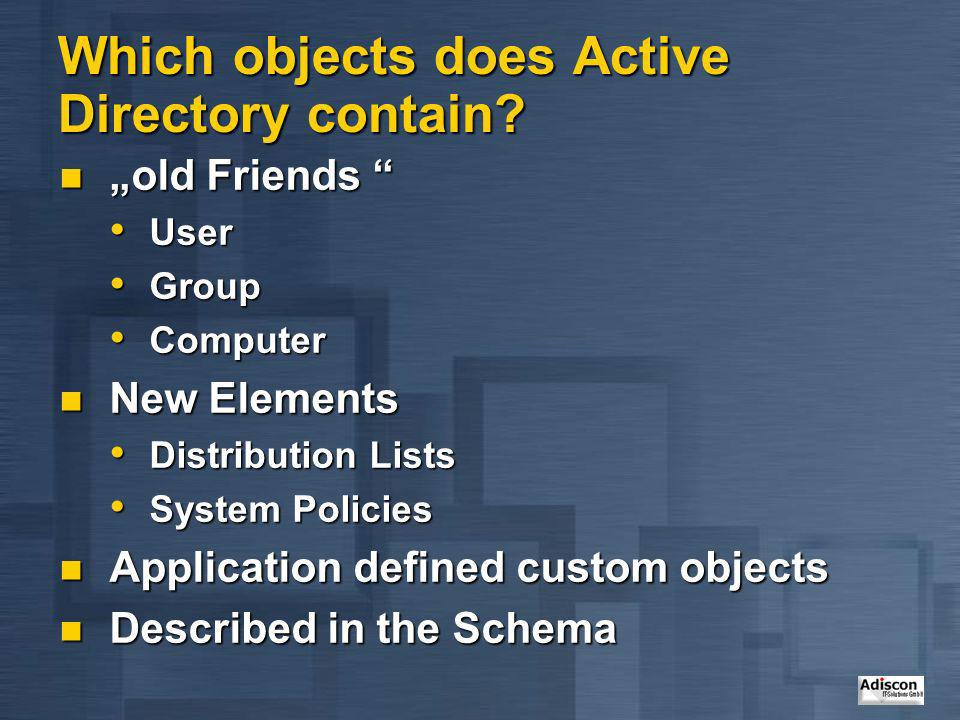 Which objects does Active Directory contain