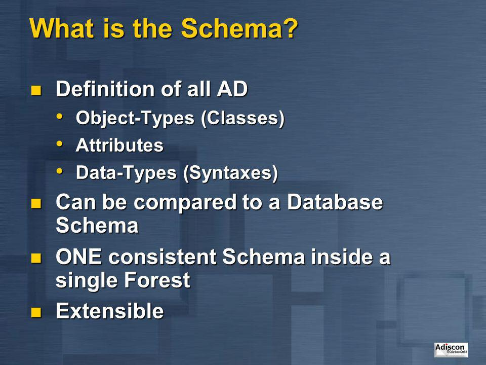 What is the Schema Definition of all AD