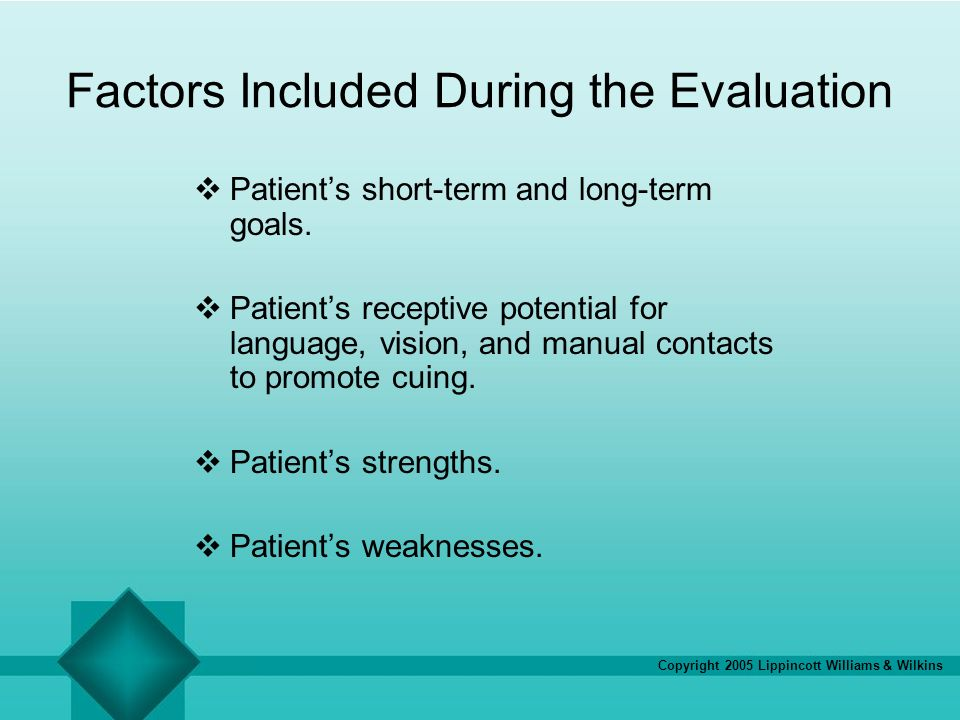 Factors Included During the Evaluation