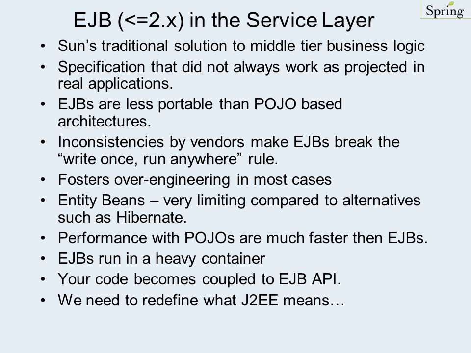 EJB (<=2.x) in the Service Layer
