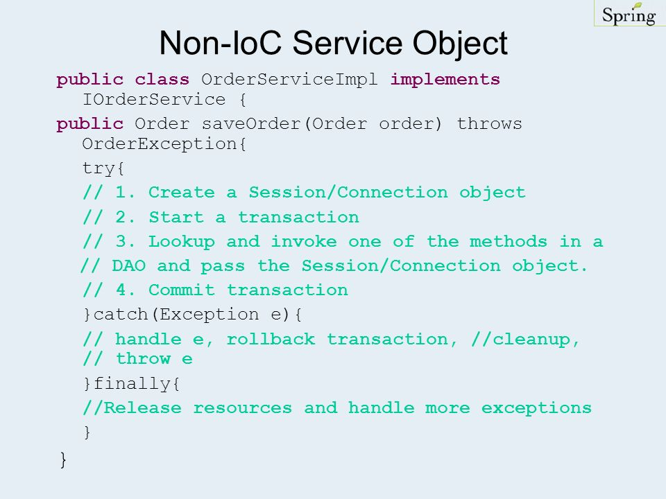 Non-IoC Service Object