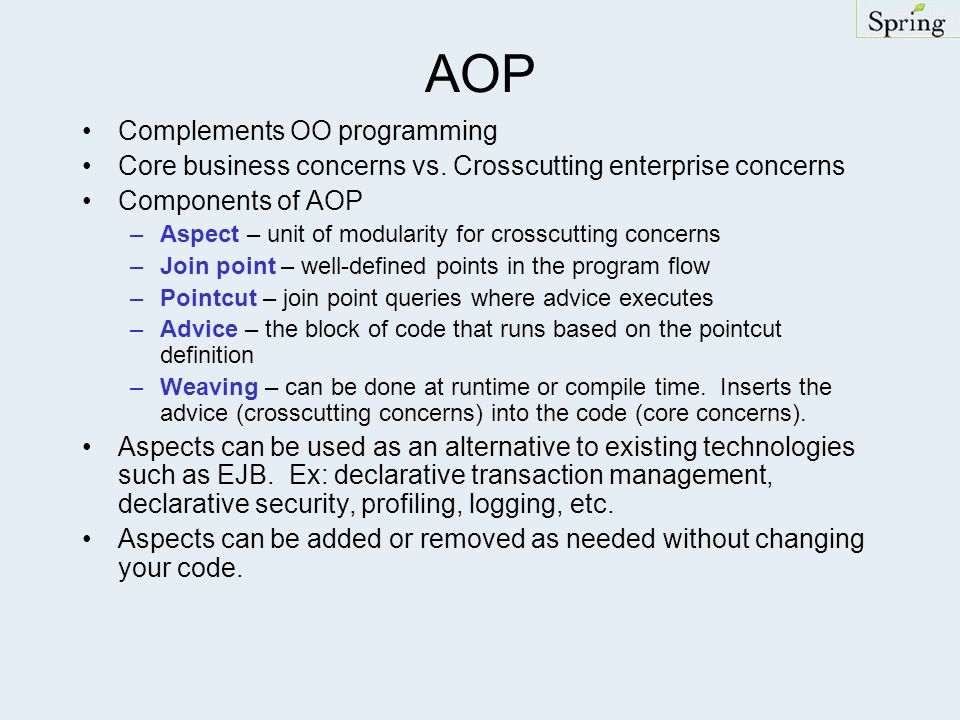 AOP Complements OO programming