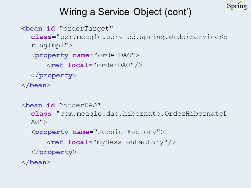 Wiring a Service Object (cont')