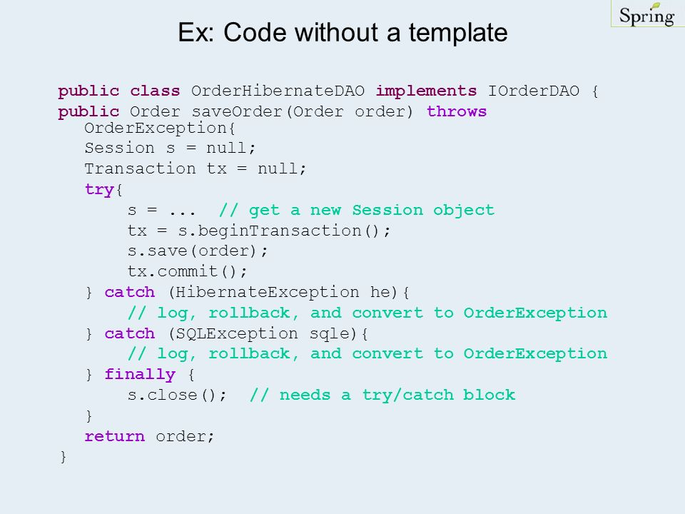 Ex: Code without a template