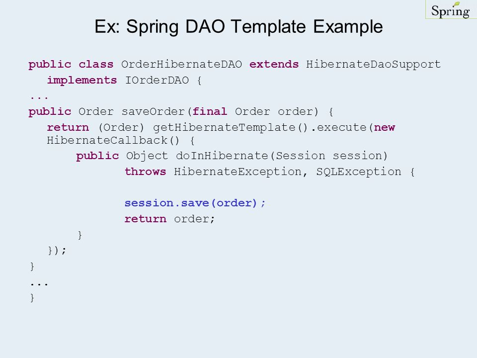 Ex: Spring DAO Template Example
